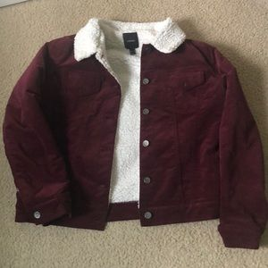 Maroon forever 21 corduroy furry jacket US size L